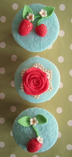 A selection of springtime shabby chic cupcakes by Mrs Baker's Cakes on Flickr.