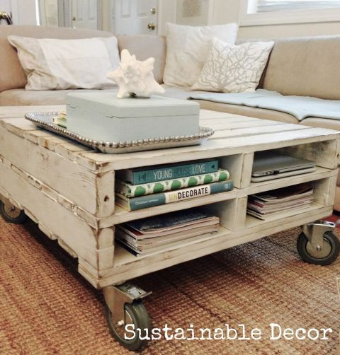 Stack two pallets to create a shabby-chic table that also offers cubbies for books and magazines.