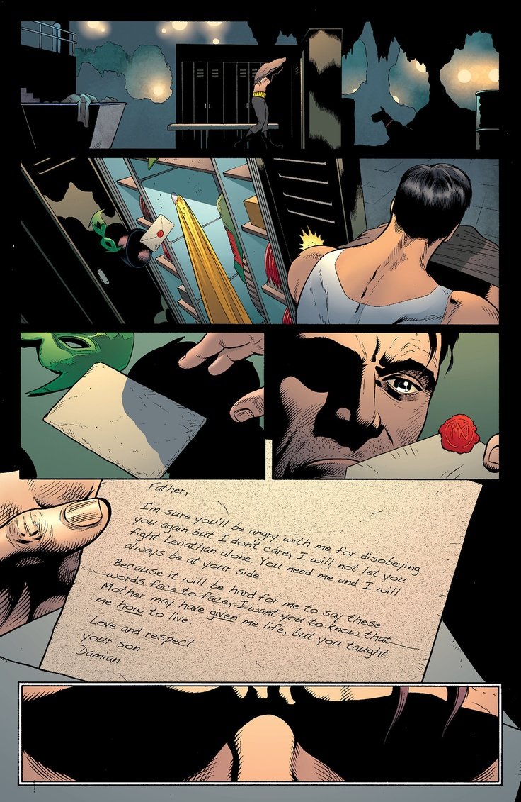 Damian's letter from Batman and Robin #18