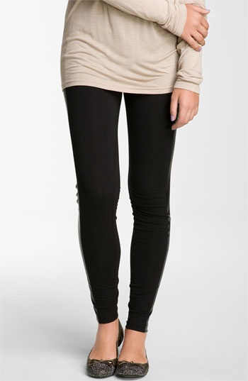 Frenchi® Faux Leather Panel Leggings (Juniors) available at #Nordstrom