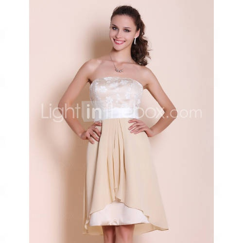 A-line Strapless Knee-length Chiffon Lace Bridesmaid Dress