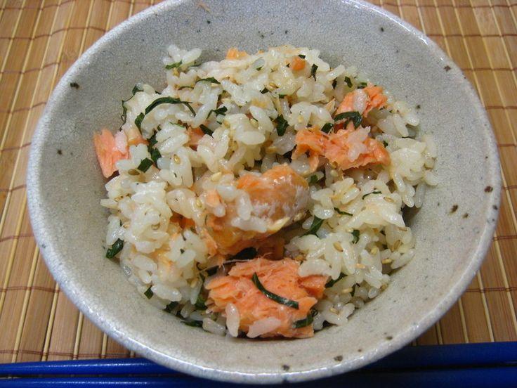 ◆鮭と大葉の炊き込み御飯◆鮭を炊飯器に入れるだけ!!すごーく簡単においしい鮭ご飯が出来ます(*´▽`*)お弁当にもぴったりです♪