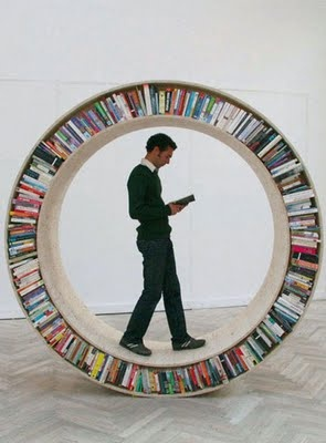 Walking library. One hamster wheel I wouldn't mind being in.