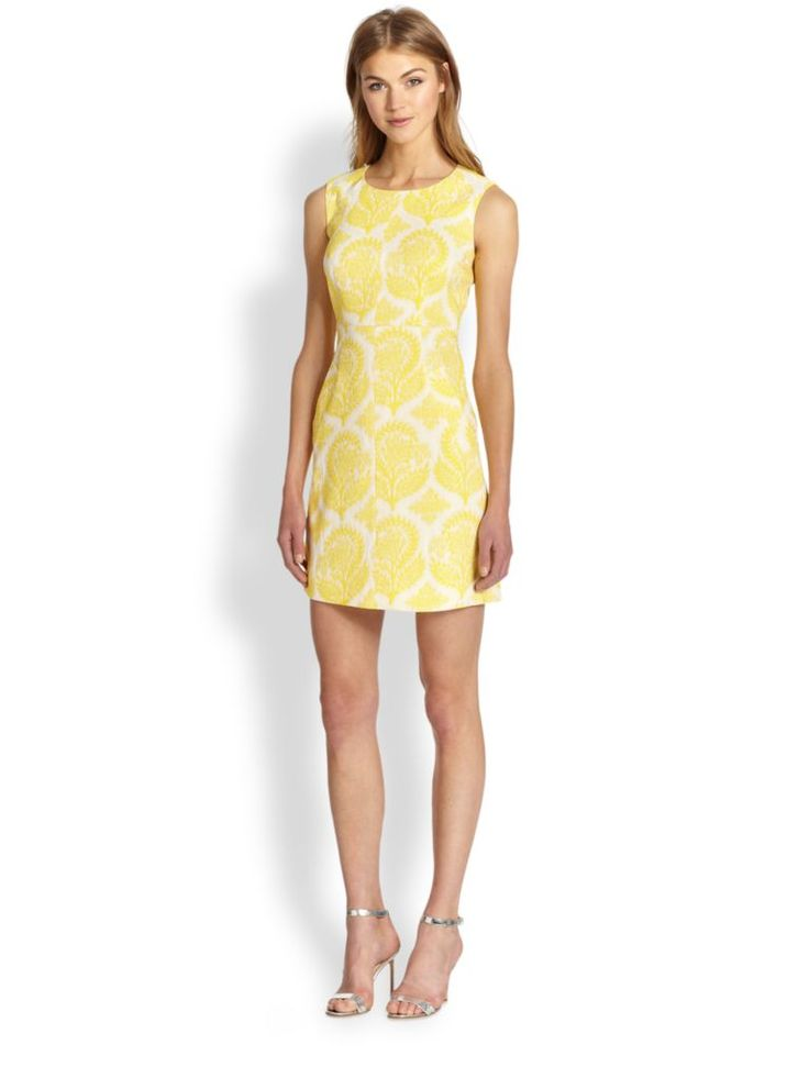 """An allover embroidered floral pattern defines this ultra-feminine jacquard dress in a classic sheath silhouette. ;Jewelneck;Sleeveless;Princess seams;Seamed waist;Angled front pockets;Exposed back zip;Lined;About 20"""" from natural waist;Polyester/acetate/viscose/elastane;Dry clean;Imported;"""