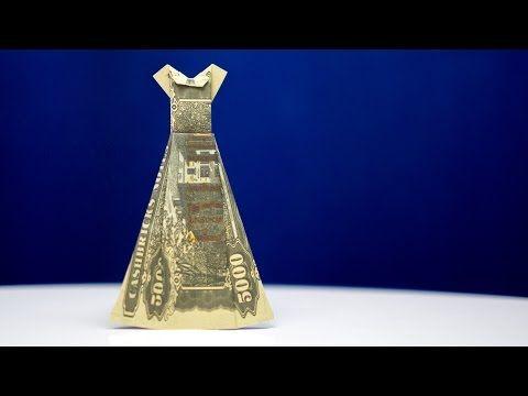 Geldgeschenke Hochzeit, Kleid aus Geldschein falten - YouTube