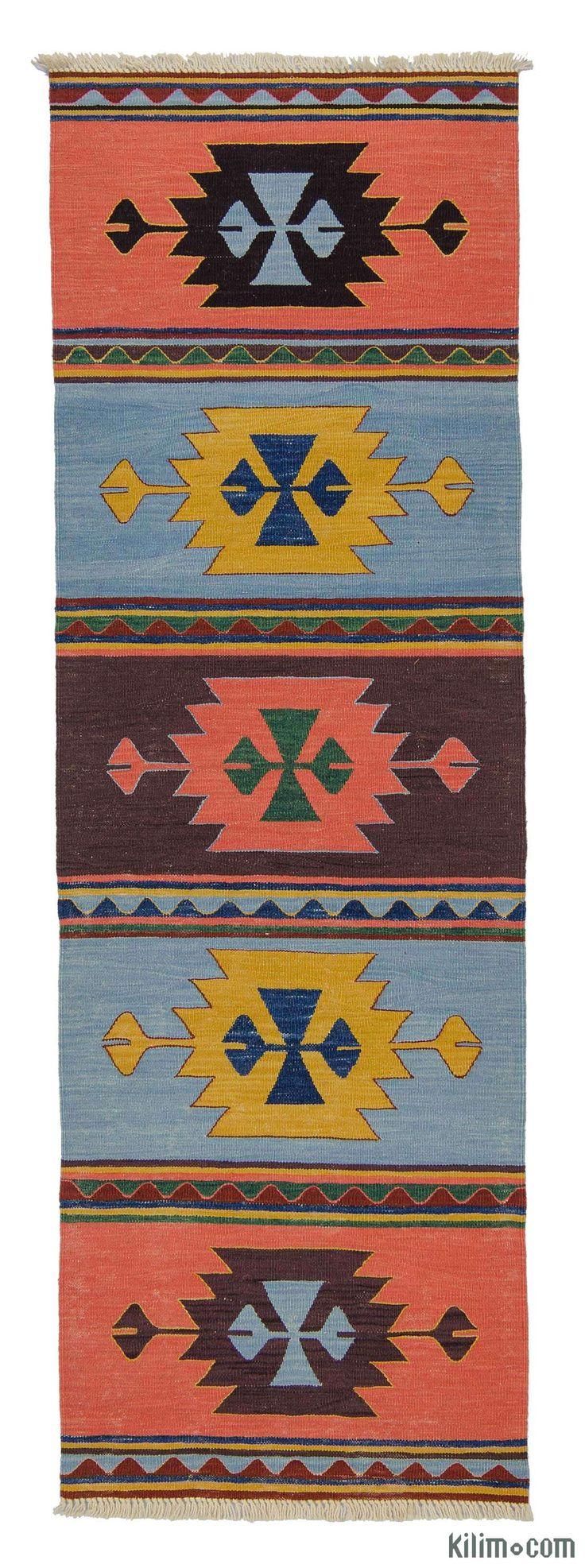K0007972 New Turkish Kilim Runner | Kilim Rugs, Overdyed Vintage Rugs, Hand-made Turkish Rugs, Patchwork Carpets by Kilim.com