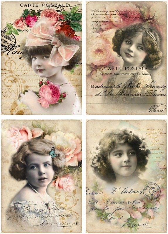 Kaarten roosjes tekst (4 stuks) | ~Postkaarten | Nostalgie & Brocante