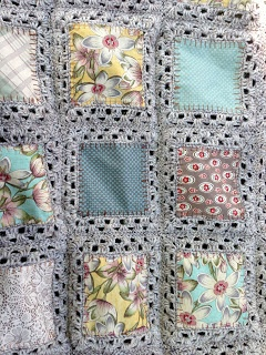 This is awesome- quilting fabric & crochet!