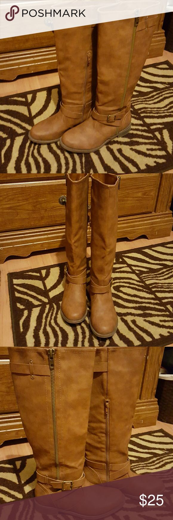 NWOT Justfab tall brown boots. NWOT Boots from JUSTFAB. Style code RUFINA. Has full-length zipper on outer side of boot & half-zip on inner side. Worn boots once per last photo. Hardly worn. They were too small! Size 7  **OFFERS WELCOME ~NO LOWBALL BIDS PLEASE ** JustFab Shoes Heeled Boots