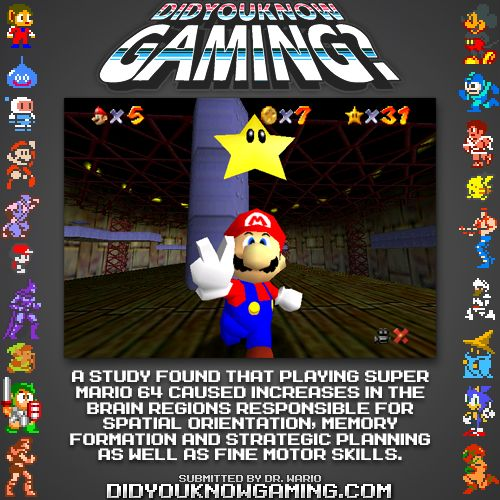 Mario 64 increases certain brain activities?