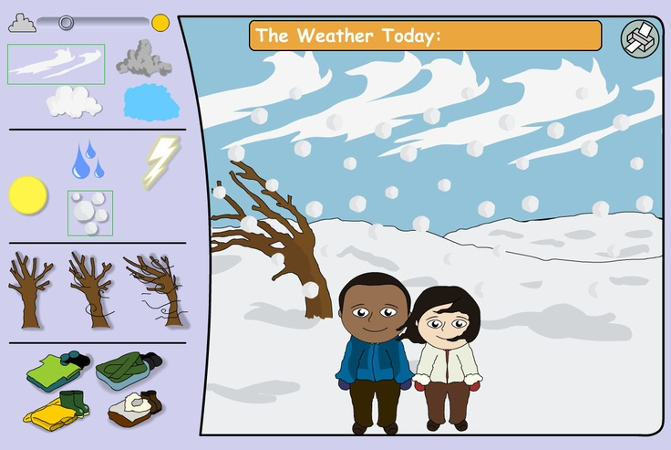 A tool to model today's weather and to open discussion on the topic. Ask pupils to suggest appropriate clothes for the characters. Lighten or darken the sky and choose wind strength, cloud cover, sun, rain, snow or storm.