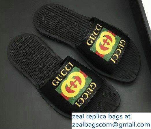 9fde67b18316 Gucci Men  s Slide Sandals Vintage Logo Black 01 2018 Mens Slide Sandals