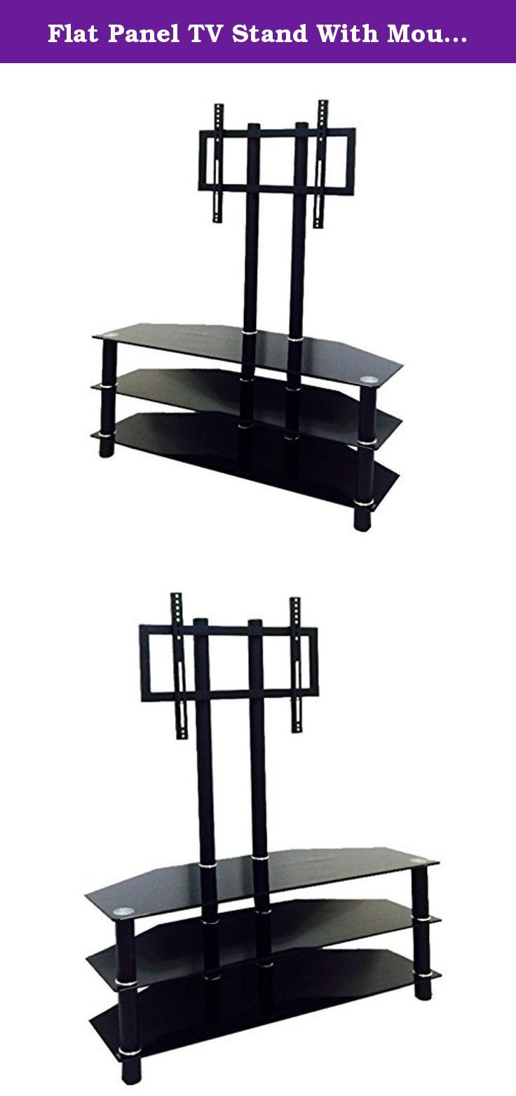 Flat Panel TV Stand With Mount 42 Inch Console - Entertainment Center Media Furniture is Best for Flatscreen Televisions - Black Glass Top Shelf Bundle w Anti-slip Accessory Pad. This flat panel TV stand with mount is excellent for accommodating home televisions up to 42 inches, and all the media that goes with it! Complete with a gloss black finish with silver accents for a modern appeal. Protective tempered glass shelves and powder coated frame means long lasting quality. 3 storage…