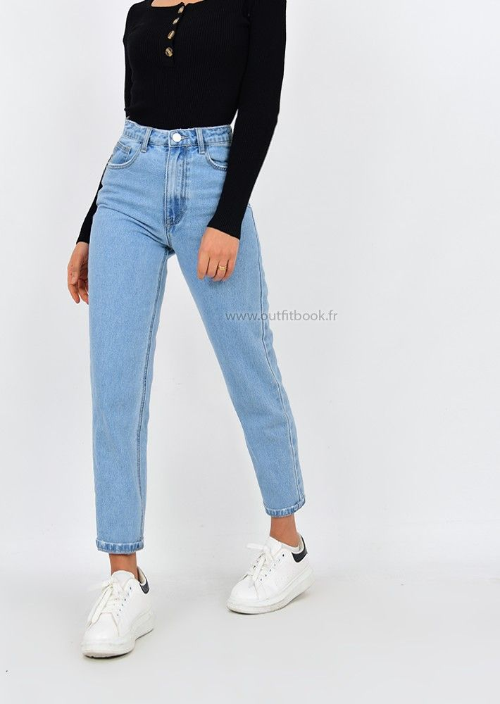 High Waisted Mom Jeans In Light Blue Jeans Mom Taille Haute Vetements Styles Tenues Mode