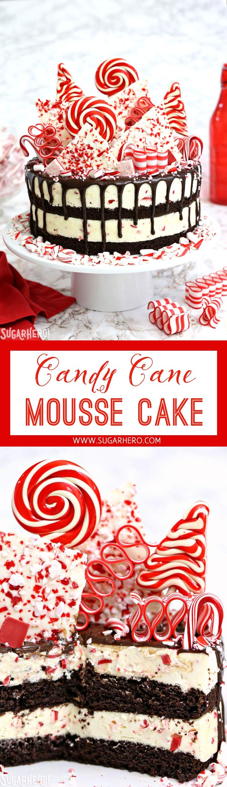Candy Cane Mousse Cake for Christmas - layers of chocolate cake and minty candy cane mousse, with a spectacular candy cane topping! | From SugarHero.com