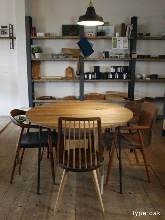 無垢木,ラウンドテーブル,丸,円卓,ダイニングテーブル,鉄脚,アイアン家具,男前,                                                                                                                                                                                 もっと見る
