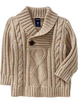 Shawl-Collar Cable-Knit Sweaters for Baby
