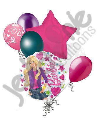 7 pc Barbie Fashion Balloon Bouquet Party Decoration Happy Birthday Pink Doll