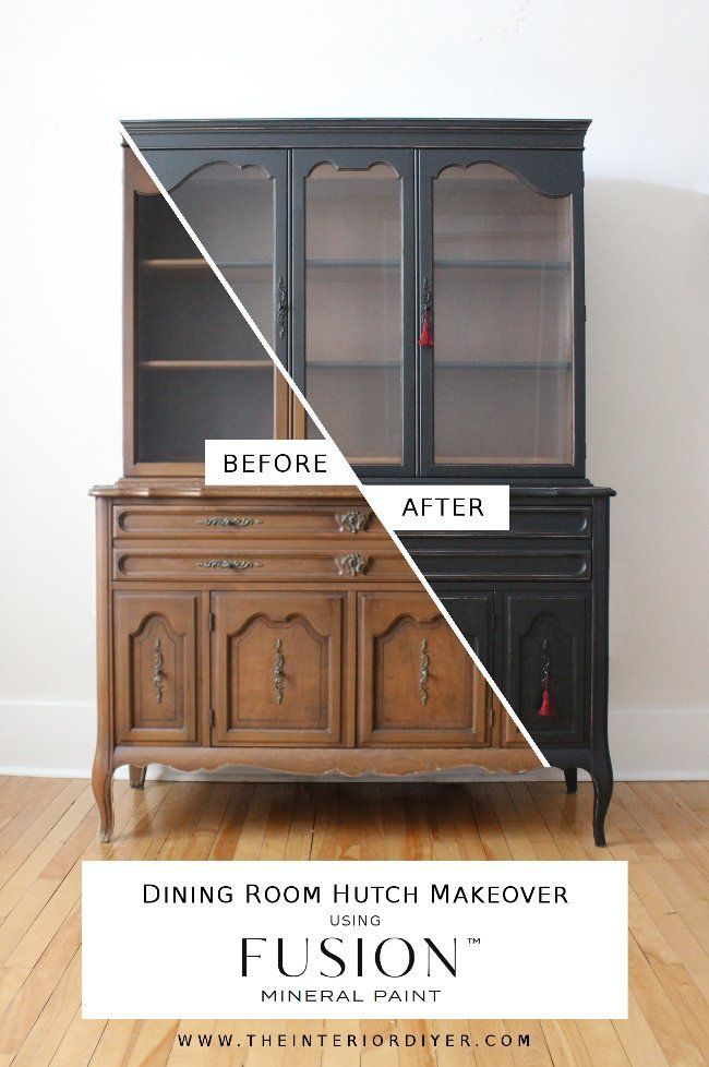 Dining room hutch makeover in Coal Black Paint Color ideas