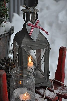Winter light~: Lights, Winter, Christmas Decor Ideas, Christmas Lanterns, Candles, Holidays, Christmas Decorating Ideas, Rustic Christmas, Scandinavian Christmas