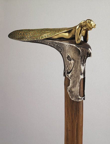 Lalique Cane Handle: gold and silver: made for the Russian Tsar