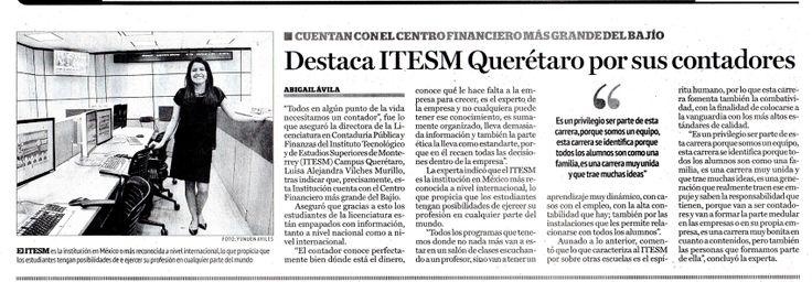 Destaca el Tecnológico de Monterrey Campus Querétaro por sus contadores. Cuentan con el Centro Financiero más grande del Bajío.