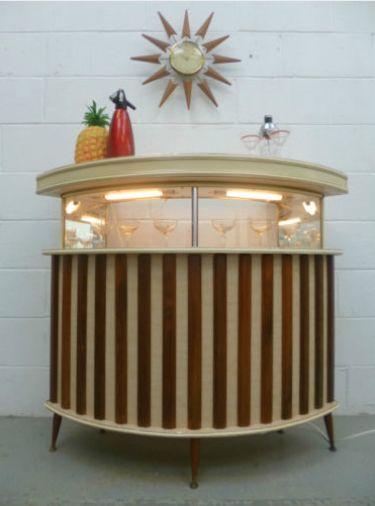 Retro bar - http://lucylovesya.com/?p=653  (design, decor, interior, mcm, midcentury, stripes, cabinet, furniture)