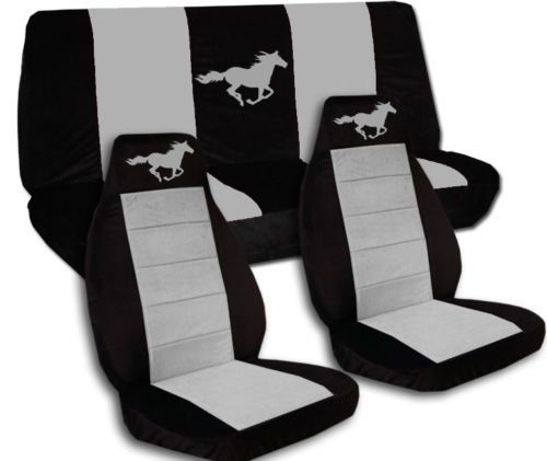 1994 to 2004 Ford Mustang Front and Rear Running Horse Seat Covers Option for a Coupe and Convertible (Coupe, Black and Silver)