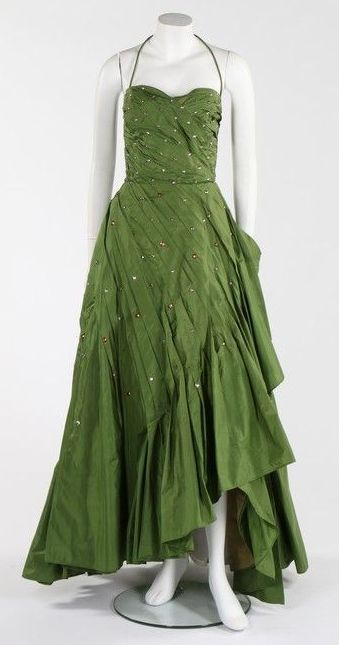 A Norman Hartnell couture green taffeta gown (1950s)~Image  Kerry Taylor Auctions.