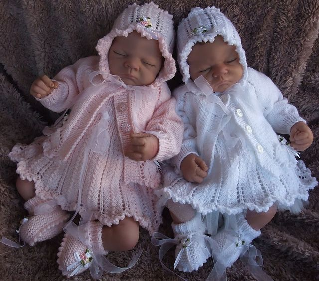 Ravelry: *PRECIOUS* 4 piece dress cardigan bonnet and booties for baby girl or reborn doll. pattern by Karen Ashton-Mills
