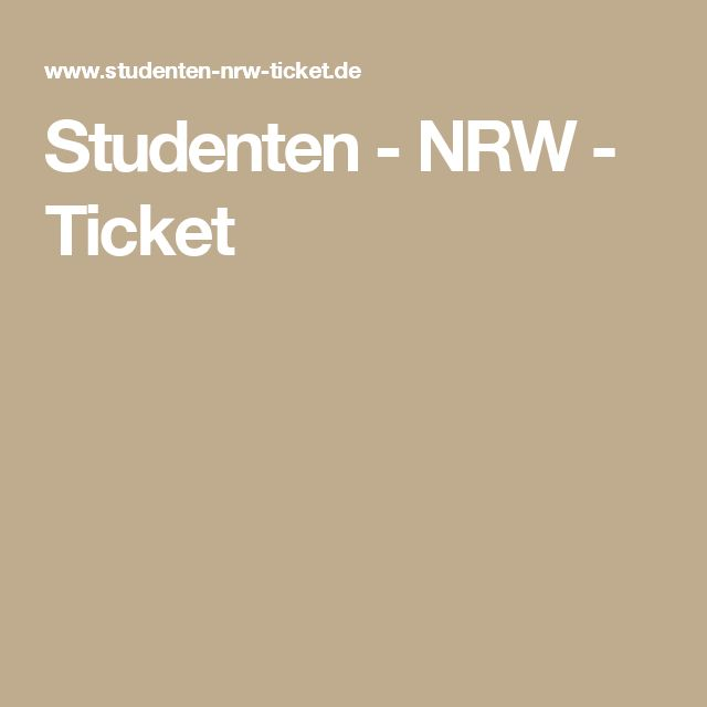 Studenten - NRW - Ticket
