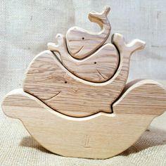 Triocean, bois naturel - puzzle à empiler - jouet en bois massif - mastro jouets