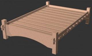 fertig zusammengebautes Steck-Bett, Liegefläche 140cm x 200cm