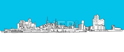 #Hamburg Panorama Vector sketch blue sky #ArtIllustration #Landscapes #Travel  #Abstract #Aster #Attractions #Background #Black #Bridge #Building #Church #City #Contour #Drawing #Elbe #Elphilharmony #Hamburg #Hamburger #Havencity #Line #Monument #Museum #Panorama #Port #Silhouette #Sketch #Skyline #Skyscraper #Store #TelevisionTower #Tourism #TownHall #University #Vector #Water #White