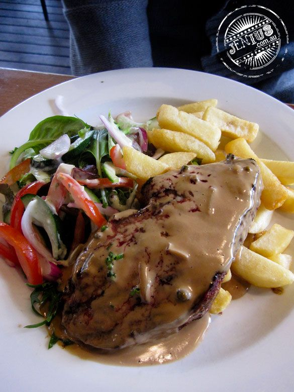 Sirloin Steak with Chips, Salad and Peppercorn Sauce ($10). Trinity Bar, Sydney.