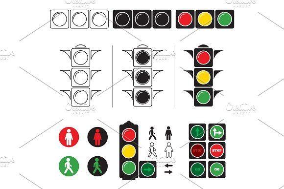 Set Stylized Illustrations Of Traffic Light With Symbols Traffic Light Stylized Symbols