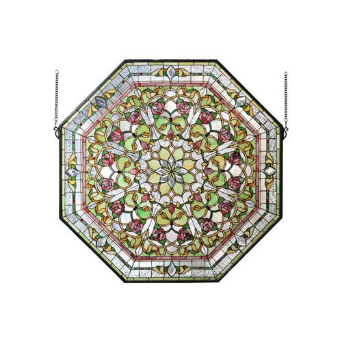Found it at Wayfair - Victorian Front Hall Floral Stained Glass Window