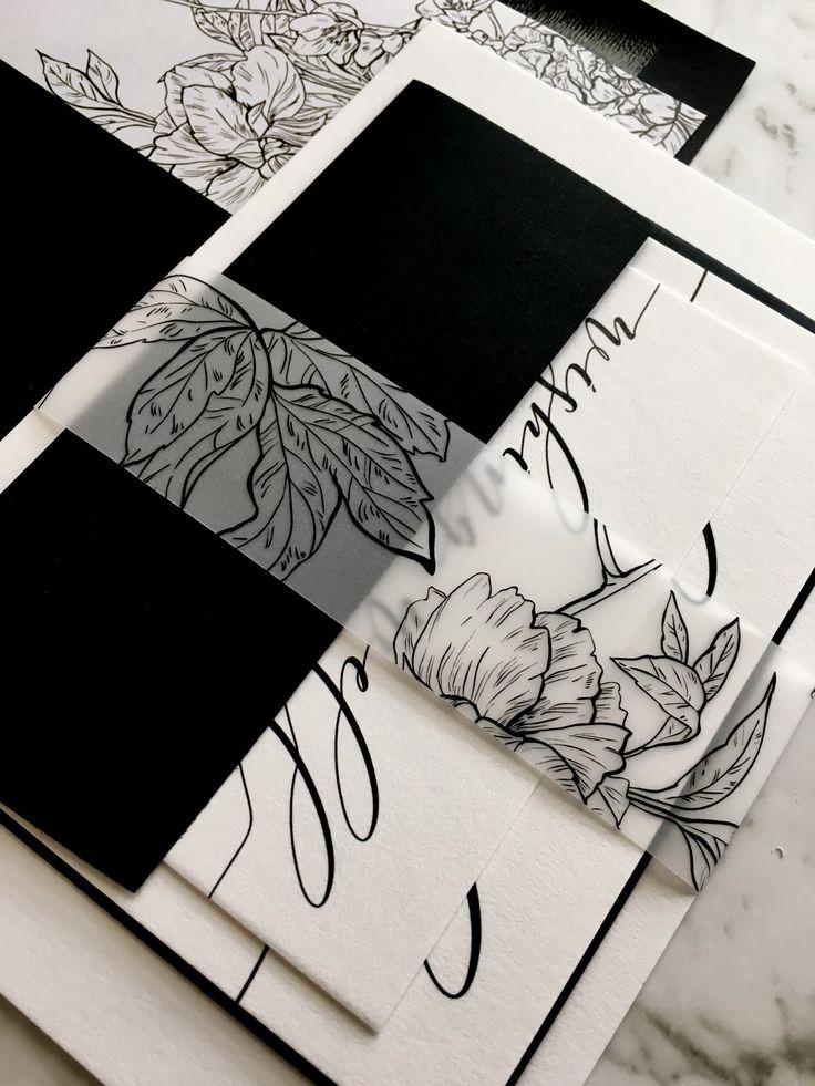 Black and White Invitation   Calligraphy Wedding Invitation   Black and White Wedding Suite   Modern Wedding Invitations   The Whitney Suite   Paper Minx Designs