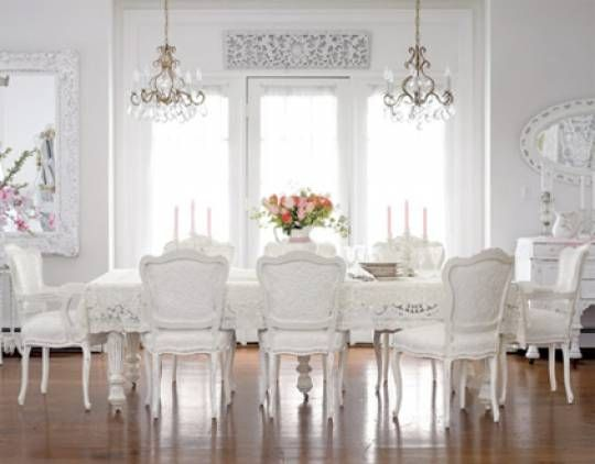white, white, white!: Dining Area, Shabby Chic Style, All White, White Dining Rooms, White Rooms, Dinning Rooms, Dining Rooms Tables, Shabby Chic Dining, Dining Tables
