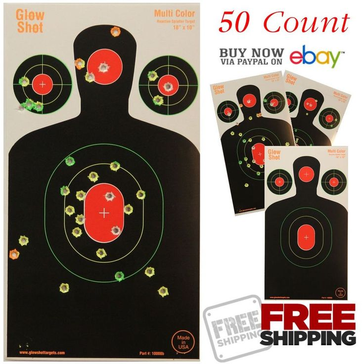 Targets Shooting Accessories 50 Pack 18x10 Silhouette Splatter Multi Color Hole #GlowShotTargets
