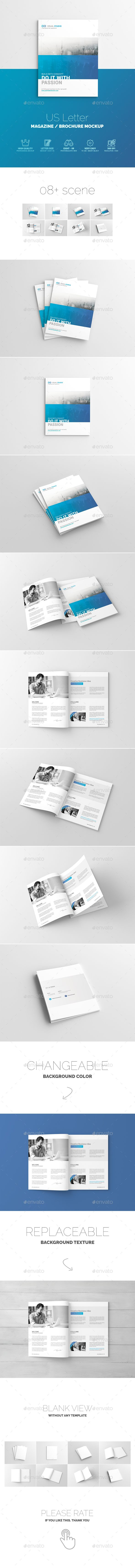 US Letter Magazine / Brochure Mock-Up. Download here: http://graphicriver.net/item/us-letter-magazine-brochure-mockup/14706960?ref=ksioks