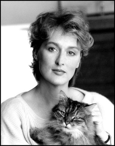 Meryl Streep and her cat.