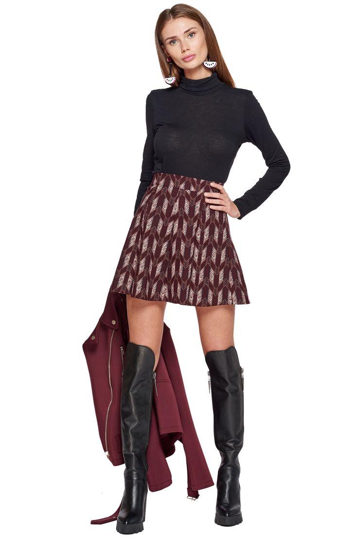 Эластичная юбка-трапеция с геометричным принтом Rabbit / 2000000051390
