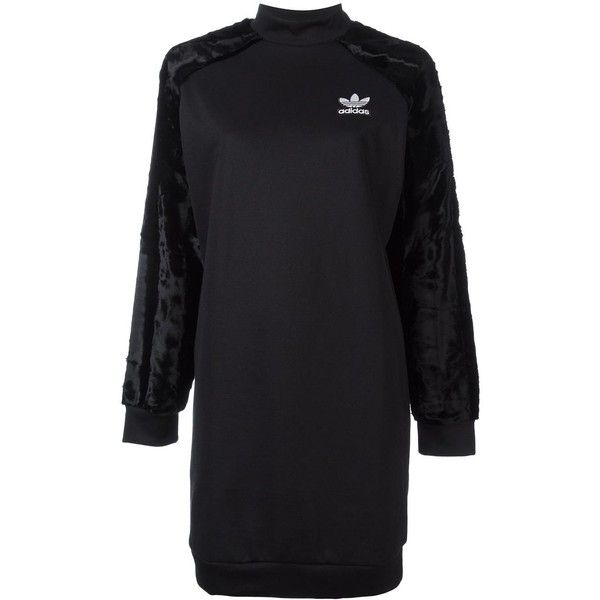 Adidas Originals velour sleeve sweatshirt dress found on Polyvore featuring dresses, black, sleeved dresses, long length dresses, embroidered dress, sweatshirt dress and velour dress