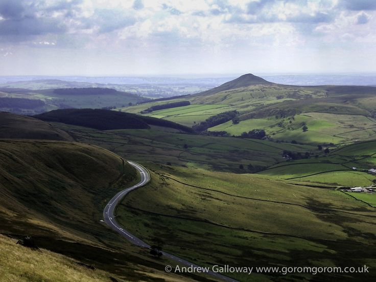Shuttlingsloe from Shining Tor, and the A537 Macclesfield to Buxton Road
