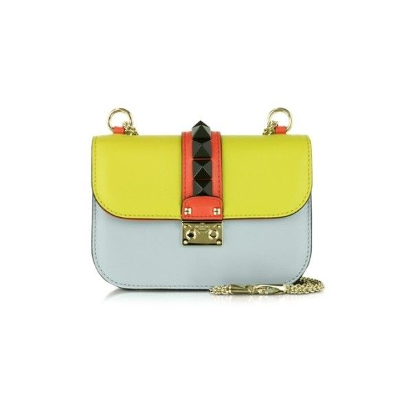 Valentino Designer Handbags Multicolor Leather Small Shoulder Bag ($2,635) ❤ liked on Polyvore featuring bags, handbags, shoulder bags, multicolor, yellow leather purse, hand bags, genuine leather shoulder bag, chain shoulder bag and yellow leather handbag