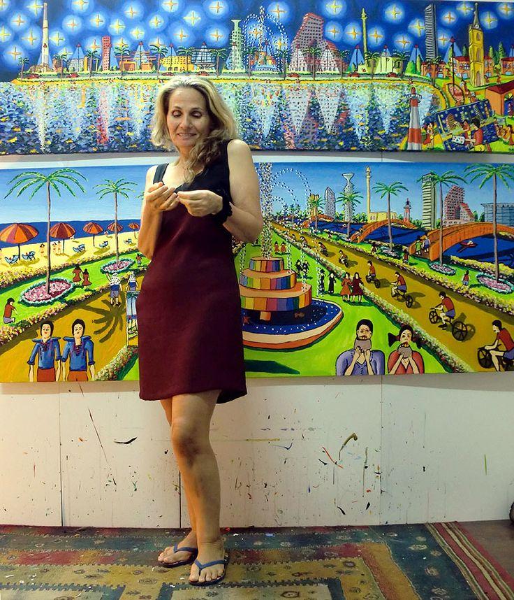 naive paintings primitive art naife landscape tel aviv beach painting rapahel perez painter israeli artist