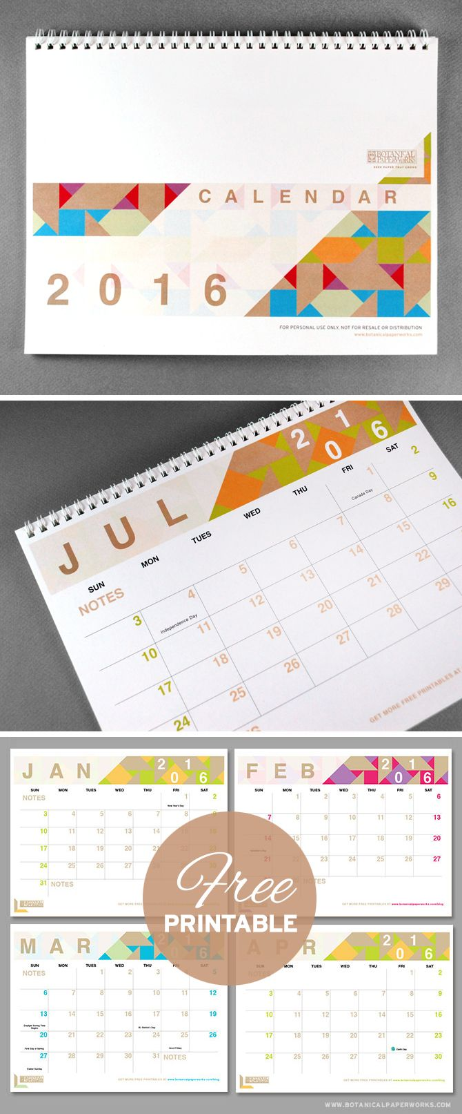 {free printables} Three Stylish 2016 Calendars - With bright pops of colour and a chic shapes and designs, the #Geometric #Calendar is another one of our most popular #freeprintables that we're excited about offering for the year #2016. Download yours now!