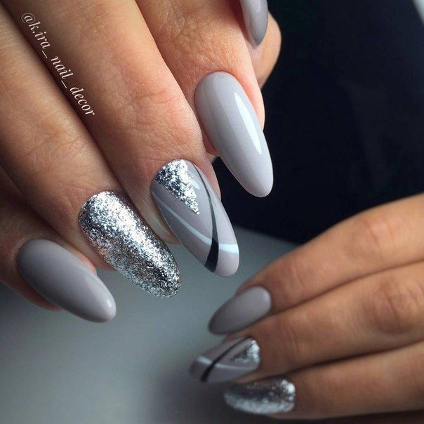 # Black, White, Grey W/ Silver Nails Дизайн Ногтей 2018