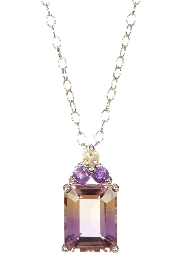 Sterling Silver Ametrine Emerald Cut Pendant Necklace by Savvy Cie on @HauteLook